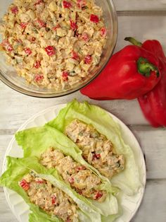 Red Bell Pepper Chicken Salad Lettuce Wraps (Low Carb and Gluten Free)