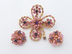 Weiss brooch and clip on earring set pink and purple AA389 by MeyankeeGliterz on Etsy