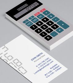 Retro Calculator: Business Cards for accountants, bookkeepers, mathematicians, maths tutors should reference something to do with numbers – so a calculator fits the bill perfectly. #moocards #businesscard