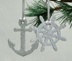 Nautical Ornaments Glittered Anchor and by SeashellCollection