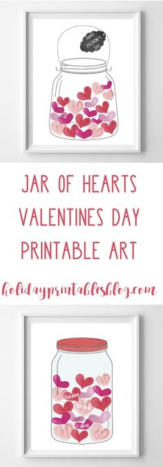 Jar of Hearts | Valentine's Day Free Printables | Watercolor Art | Happy Valentine's Day | Hearts Art