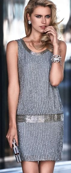 Silver sequin midi dress with clutch purse for Luisa Spagnoli