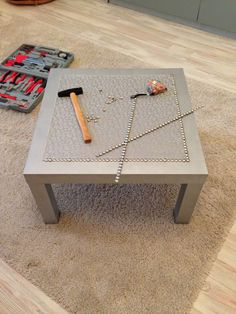 IKEA Hackers: Silver coffee LACK table... Maybe not silver but would dress up the side table