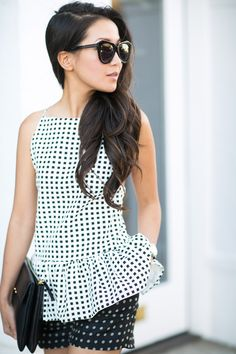 Black and White Patterns - Square peplum & Polka dots | Wendy of http://www.wendyslookbook.com/2014/07/patterns-square-peplum-polka-dots