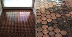Woman Uses 13,000 Pennies To Renovate Old Floor And Turn It Into Stunning Patterns | Bored Panda