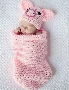 Newborn Pig Piggy Baby Infant Knit Sweater Crochet Photography Prop costume L45