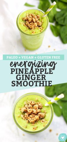 Energizing Pineapple Ginger Smoothie (Vegan Paleo and DELICIOUS!) This pineapple … – easy kids friendly dinners Pineapple Smoothie Recipes, Keto Smoothie Recipes, Ginger Smoothie, Vegan Smoothies, Smoothie Diet, Juice Recipes, Healthy Drinks, Healthy Snacks, Healthy Recipes