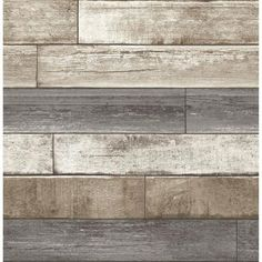 This weathered, pallet-inspired wood wallpaper takes the difficulty out of this trendy DIY project. Get the look of a wood accent wall with the ease of a modern wallpaper. Wood Plank Wallpaper, Look Wallpaper, Wallpaper Samples, Textured Wallpaper, Peel And Stick Wallpaper, Wall Wallpaper, Wood Effect Wallpaper, Linen Wallpaper, Rustic Wallpaper