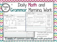 Third Grade Daily Math and Grammar morning work :)  5 weeks!  Includes daily grammar and cursive handwriting practice!