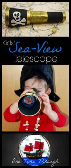 Kids' Sea-View Telescope Craft - One Time Through - Kids' Sea-View Telescope Craft – One Time Through Help your kids craft this Sea View Telescope and then let the fun begin Pirate Activities, Craft Activities For Kids, Projects For Kids, Diy For Kids, Crafts For Kids, Diy Projects, Craft Kids, Pirate Day, Pirate Birthday