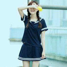 Angel Love Set: Short-Sleeve Sailor Collar Top + Skirt   YESSTYLE