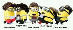 Minions as One Direction :) One Direction Minions, Despicable Me, Laughing So Hard, Harry Styles, Zayn Malik, Niall Horan, Funny Stuff, Cartoons, Friends
