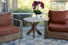 DIY X-Brace Concrete Side Table Plans   Rogue Engineer - This a great table that would be great for a mosaic top.