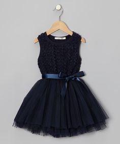 Take a look at this Navy Rosette A-Line Dress - Infant, Toddler & Girls on zulily today!