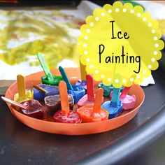Adventures of Adam Ice Painting Tuff Spot Eyfs Activities, Nursery Activities, Activities For 2 Year Olds, Easter Activities, Color Activities, Infant Activities, Summer Activities, Tuff Spot, Tuff Tray Ideas Toddlers