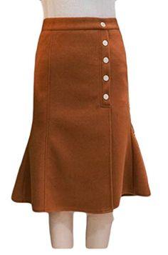 0930c895f9 Papijam Womens High Waist WoolBlend Bodycon Ruffles A Line Skirts bistre  XSmall >>> ** AMAZON BEST BUY **