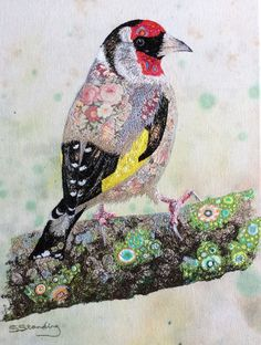 Goldfinch textile embroidered art
