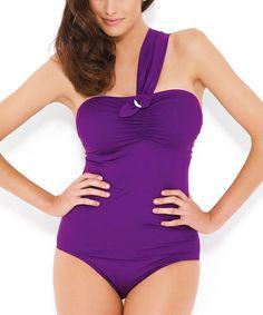 Look at this #zulilyfind! Purple Sophia Asymmetrical Full-Fit One-Piece #zulilyfinds