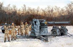 el mejor de todos ellos y posiblemente el cañón más famoso de la guerra, el mítico 88 alemán, aquí con una dotación de la Flak de la Luftwaffe pero empleado en tiro terrestre, los anillos pintados en el cañón simbolizan carros o aviones destruidos. Obra de Ron Volstad para Dragon