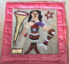 Voodoo Vodou Haitian Ceremonial Folk Art Flag Mermaid, Fish, Trumpet, Candle