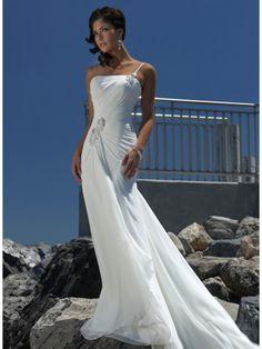 bridalup.com SUPPLIES Elegant Sheath/Column Empire One Shoulder  Beach Wedding Dress Beach Wedding Dresses