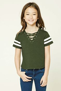 Forever 21 Girls - A knit top featuring a lace-up front with grommets, varsity stripes, curved hem, a V-neckline, and short sleeves.