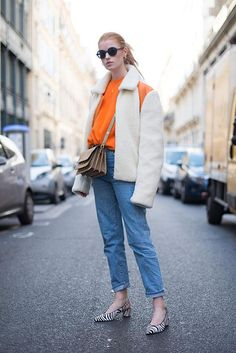 31 Winter Outfit Ideas - Your Daily #OOTD Inspiration for This Winter: White Shearling Coat and Jeans