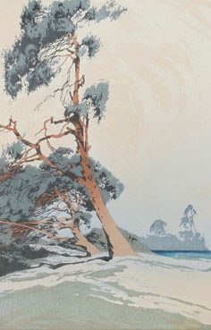 Oscar Droege (German, 1898-1982) Alpine scene, colour woodcut, signed in pencil, 37 x 23cm, and another similar, trees. (2) Watercolor Landscape, Abstract Landscape, Watercolor Art, Environment Design, Wood Engraving, Woodblock Print, Tree Art, Japanese Art, Painting & Drawing
