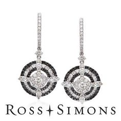 1.80 ct. t.w. Black and White Diamond Earrings In 18kt White Gold