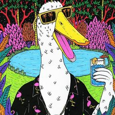It's Party Duck! I was commissioned to paint him for the upcoming Wollongong Uni Garden Party. An Ode to Party Duck There was a duck and he was a grumpy dude Some people called him evil duck others called him rude He ruled the Wollongong Uni lawn with an iron feather His methods were extremely brutal but also kind of clever He terrorised all the students and teachers alike If he saw you with a sandwich he'd chase you off and then take a bite Swimming in the duck pond one day he ran out of…