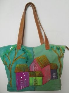 For sale !!! Hand Painted bag with leather strap !!!  www.colombiasecrets.net