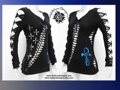 ANKH IN BLUE   Junior / Womens Shredded Top Long Sleeve Cut