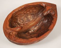 Italian Carved Bowl in the Form of a Walnut Shell