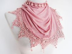 http://www.etsy.com/treasury/MTA5MjEwMTJ8MjQyNjU1NjEzMw/unique-gifts-for-my-lovely-mom Pink Organic Cotton Scarf With Lace Mothers by mediterraneanlights, $19.00