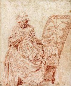 The Seamstress - Jean-Antoine Watteau - circa 1715