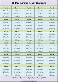 Running with Three Boys: 30 Day Summer Ready Challenge //I have a slightly different comfort zone, so I'll double the number of push-ups and halve the number of squats. Still though, definitely trying!