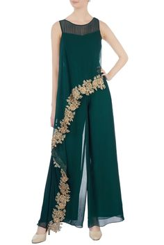Mother of the bride pantsuits dresses Green chiffon jumpsuit Hijab Fashion, Girl Fashion, Fashion Dresses, Womens Fashion, Dresses Dresses, Chiffon Dresses, Dance Dresses, Dresses Online, Casual Dresses