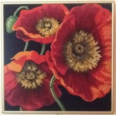 8-15-13  -  My Poppy Trio is blocked, framed, and hanging.