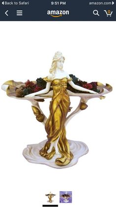 Other Collectible Figurines Candlestick Art Nouveau Female Figure Veronese Candleholder Woman Bronze Hair