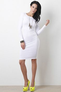 This casual dress features a jersey knit fabric, longsleeves fit, boat neckline, and midi-length hemline. Accessories sold separately. Made in U.S.A. 96% Cotton, 4% Spandex. Measurement Size Bust Wais