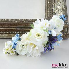 【花飾り】【ヘッドドレス】ブルーとホワイトの花飾り[fc129]