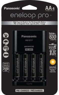 Panasonic KKJ17KHCA4A Eneloop Pro Individual Cell Battery Charger with 4 AA Ni-MH Rechargeable Batteries 4-Pack This ranks among the best of the top selling products in Electronics category in Canada. Click below to see its Availability and Price in YOUR country.
