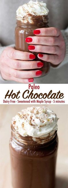 Cozy up with this delicious and decadent paleo hot chocolate. It is dairy free, … Cozy up with this delicious and decadent paleo hot chocolate. It is dairy free, refined sugar free, and only takes 5 minutes to make! It can also be made keto/low carb! Paleo Hot Chocolate, Café Chocolate, Sugar Free Hot Chocolate, Chocolate Smoothies, Chocolate Roulade, Chocolate Shakeology, Delicious Chocolate, Delicious Food, Dairy Free Recipes