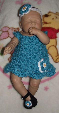 Baby Girl Crochet Dress Set  Headband Dress by TJsCrochetCreations