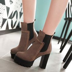 Platform Elastic Band Chunky Heel Ankle Boots #women, #men, #hats, #watches, #belts, #fashion