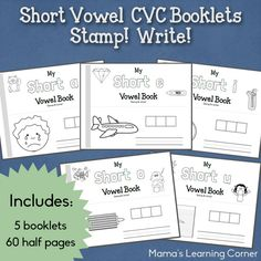 Short Vowel CVC Booklets - Stamp and Write - Mamas Learning Corner Reading Centers, Reading Skills, Teaching Reading, Learning, Sight Words, Cvc Words, Teaching Vowels, Vowel Practice, Vowel Activities
