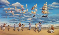 Rob Gonsalves is a famous painter from Toronto, Canada. His works of art are recognizable for their magic realism and mind-bending optical illusions.