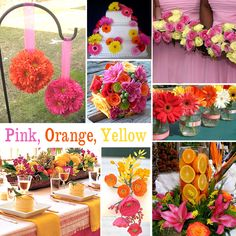 Pink, Orange and Yellow Wedding Colors - Pink, orange and yellow is a lovely combination for a spring or summer wedding. There are lots of flower options with this combination. And you can be creative and add actual oranges to your decor as shown in the photo.