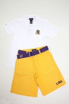 LSU Boys' Gold Twill Shorts | JV Clothiers