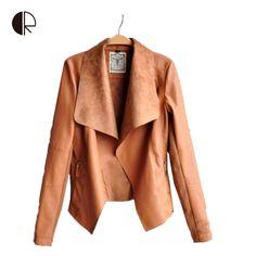 2015 nueva llegada del resorte largo de la manga de la PU de cuero de imitación chaqueta Collor de cuero chaquetas abrigos delgados más tamaño Feminino S 4XL en Chaquetas Básicas de Moda y Complementos Mujer en AliExpress.com | Alibaba Group